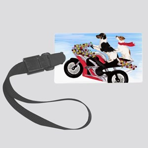 Jack Russell Terriers on a Motor Large Luggage Tag