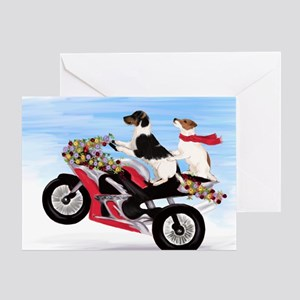 Jack Russell Terriers on a Motorcycl Greeting Card