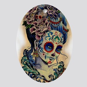 Marie Muertos shower curtain Oval Ornament