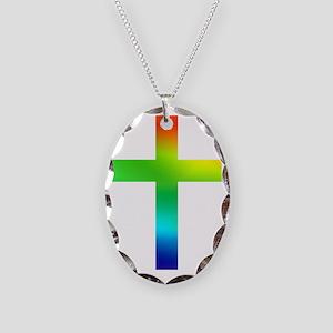 Rainbow cross Necklace Oval Charm