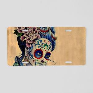 Marie Muertos laptop skin Aluminum License Plate