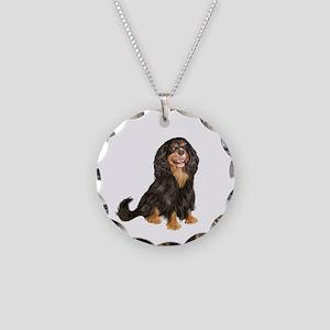 Cavalier (blk-tan) Necklace Circle Charm