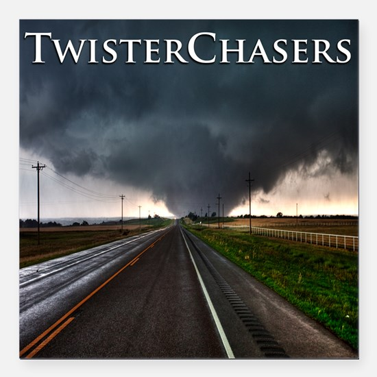 """TwisterChasers Tornado Square Car Magnet 3"""" x 3"""""""