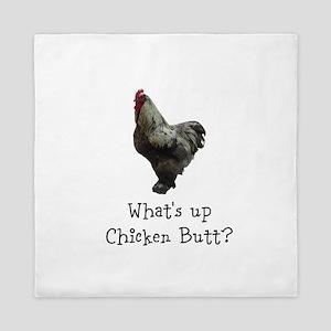 Whats Up Chicken Butt Queen Duvet