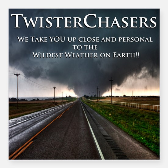 """TwisterChasers Back Square Car Magnet 3"""" x 3"""""""