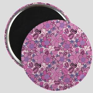 Pink Floral Pattern Magnet