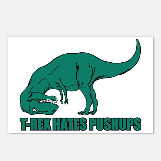 T-Rex Hates Pushups Postcards (Package of 8)
