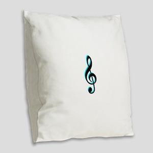 Music Note Burlap Throw Pillow