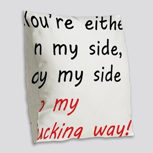 By my side... Burlap Throw Pillow