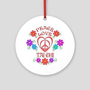 Peace Love Tai Chi Round Ornament