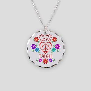 Peace Love Tai Chi Necklace Circle Charm
