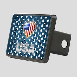 US Patriotic Design Rectangular Hitch Cover