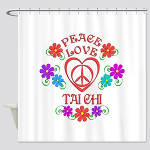 Peace Love Tai Chi Shower Curtain