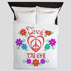 Peace Love Tai Chi Queen Duvet