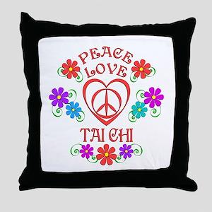 Peace Love Tai Chi Throw Pillow