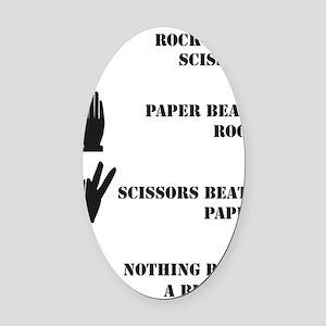 Rock Paper Scissors Blowjob Oval Car Magnet