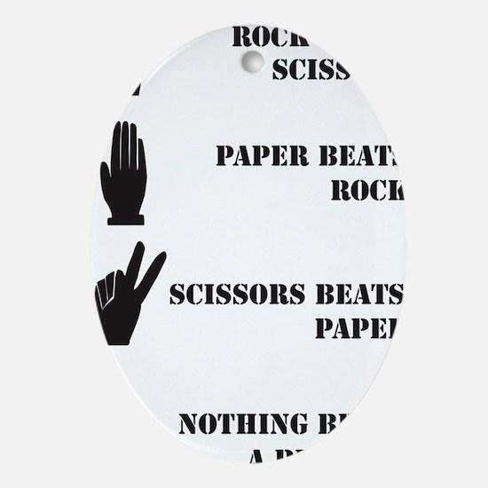 Rock Paper Scissors Blowjob Oval Ornament