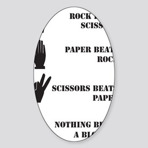 Rock Paper Scissors Blowjob Sticker (Oval)