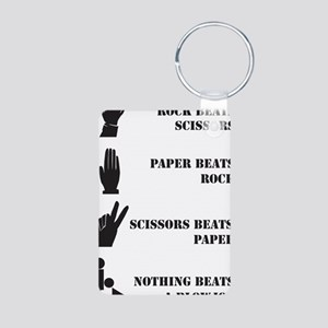 Rock Paper Scissors Blowjo Aluminum Photo Keychain