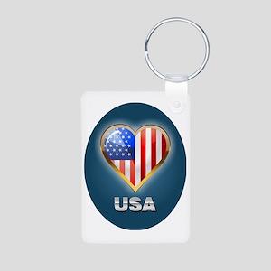 Patriotic ornament Aluminum Photo Keychain