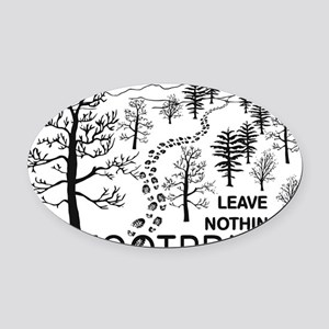 Leave Nothing but Footprints BLK Oval Car Magnet