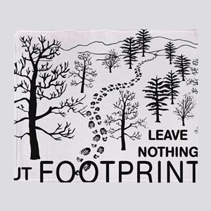 Leave Nothing but Footprints BLK Throw Blanket