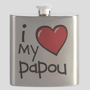 I Love My Papou Flask