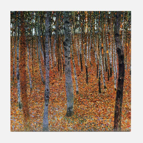 Gustav Klimt Beech Grove Tile Coaster