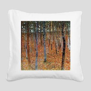 Gustav Klimt Beech Grove Square Canvas Pillow