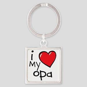 I Love My Opa Square Keychain