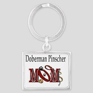 Doberman Pinscher Mom Landscape Keychain