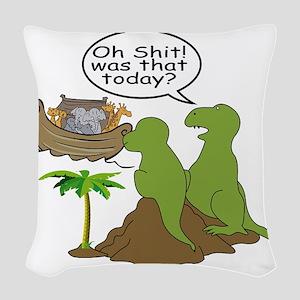 Noah and T-Rex, Funny Woven Throw Pillow