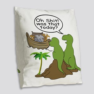 Noah and T-Rex, Funny Burlap Throw Pillow
