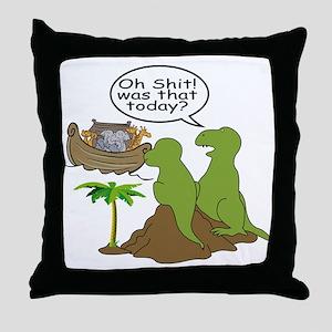Noah and T-Rex, Funny Throw Pillow