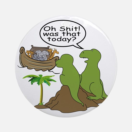Noah and T-Rex, Funny Round Ornament