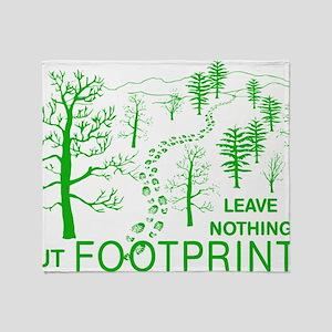 Leave Nothing but Footprints Green Throw Blanket