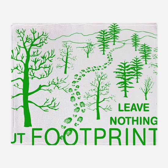 Leave Nothing but Footprints Green Throw Blanket