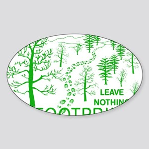 Leave Nothing but Footprints Green Sticker (Oval)