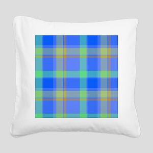 blue plaid Square Canvas Pillow