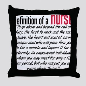 Definition of a nurse Throw Pillow