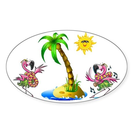 Flamingo's at the beach Sticker (Oval)