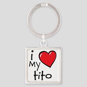 I Love My Tito Square Keychain
