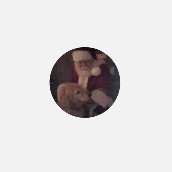 Santa with Hooper the Golden Retriever Mini Button