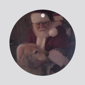 Santa with Hooper the Golden Retrie Round Ornament