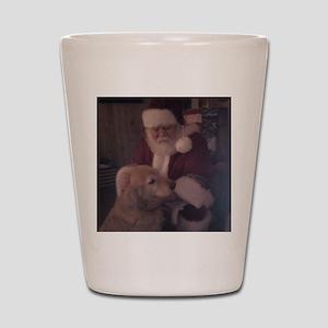 Santa with Hooper the Golden Retriever Shot Glass