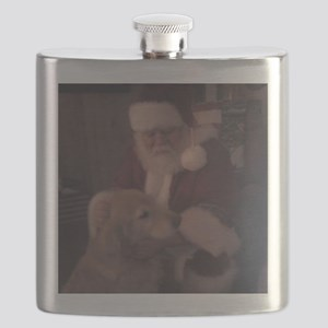 Santa with Hooper the Golden Retriever Flask