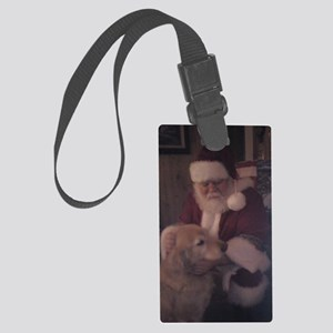 Santa with Hooper the Golden Ret Large Luggage Tag