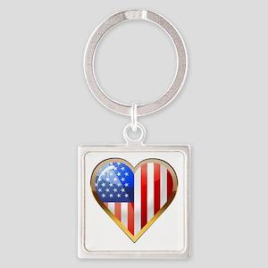 US HeartOtline Square Keychain