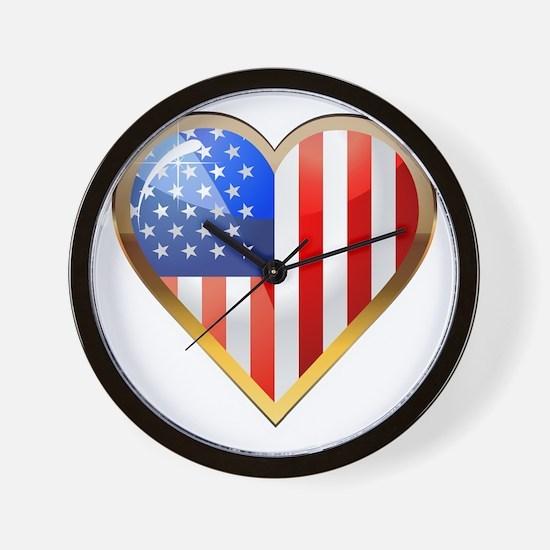 US HeartOtline Wall Clock