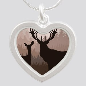 Deer Silver Heart Necklace